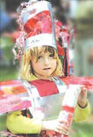 Young girl in fancy dress.